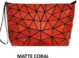 Slanted Triangle Geo Clutch Coral