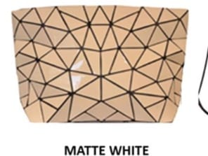 Slanted Triangle Geo Clutch White