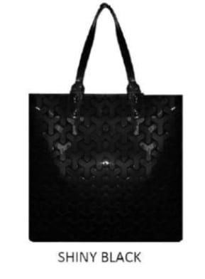Shiny Black Y Pattern Geo Tote
