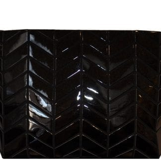 Shiny black chevron clutch