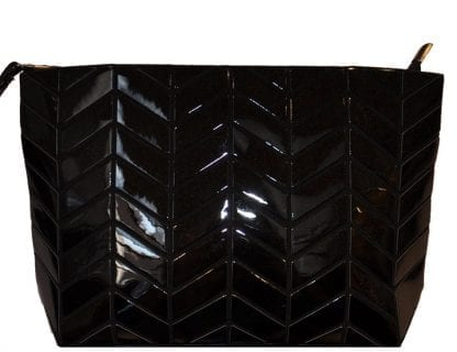 Shiny black chevron clutch