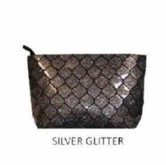 Silver Glitter Honeycomb Geo Clutch