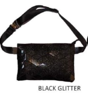 Black glitter Geo belt bag