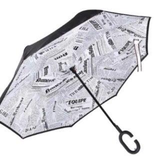 Smart Umbrella with News Print Background