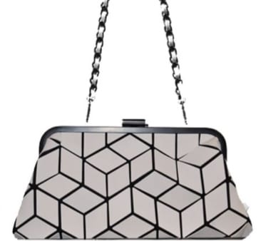 Slanted Square Geo Clutch with Metal Closure