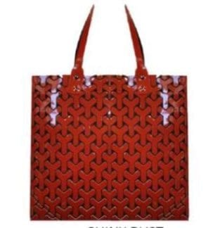 Shiny Rust Y Pattern Geo Tote