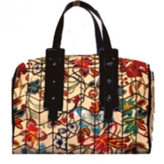 Floral Slanted Square Geo Duffle